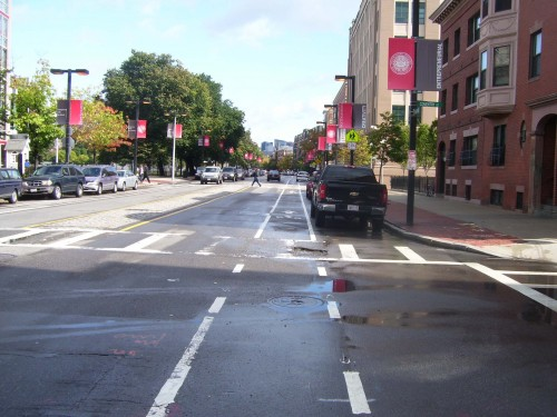 Here is a good example of the bike lane width (ignore the giant pot hole for now), looks kind of dicey...looks pretty narrow...