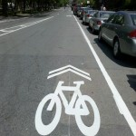 once the right hand side lanes end, you get these nice big sharrows on the right, you can see the left hand lane on the left.
