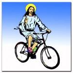 bikeJesusChristOnABicycleArt