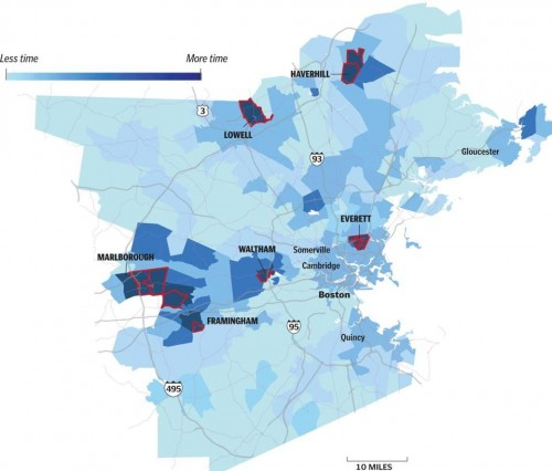 The dark blue on the map shows the neighborhoods whose residents spend the most time stuck in traffic. The red outlines identify 15 census tracts whose drivers disproportionately clog traffic, because they all tend to travel on the same small number of roads at the same time. When commuters from these census tracts clog the roads, the congestion ripples throughout the entire metro area, making everyone's commutes longer.